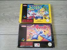 Lot of 2 SNES games (PAL) - Street Racer & Super Putty - both complete in box with manual & inner box