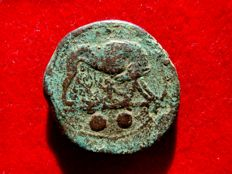Roman Republic - Anonymous semi-libral standard (217-215 B.C.) bronze sextans (24,35 g. 30 mm.). Minted in Rome. She-wolf and Twins / Eagle standing, flower. Cra.39/3. Extremely RARE!!
