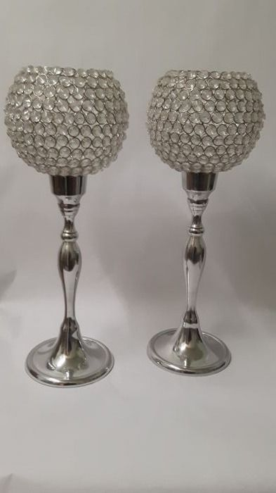 Two large (50 cm ) glass ball candlesticks