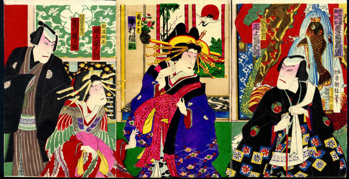 Originele houtsnede drieluik door Utagawa Kunisada III (1848-1920) - Kabuki acteurs - Japan - 1893