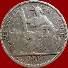 French Indochina - Piastre de Commerce 1902 A (Paris) - Silver