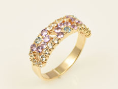 14 kt gold  Ring with semiprecious stones - Weight: 4 g - Size: 56.5
