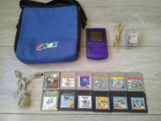 Nintendo Game Boy Color console with bag, charger, link cable and 12 games - Super Mario Land trilogy, Bugs Bunny, Taz Mania, etc