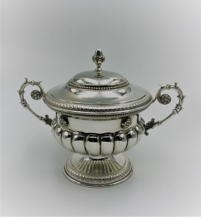 Cup-shaped Sugar Bowl, Finely Embossed Castaudi and Gautiero Vercelli (Italy), second half 20th c