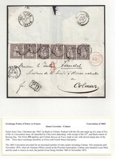 Swiss-France 1865 - Franking from Basel to Colmar, 30c. rate. Letter to France