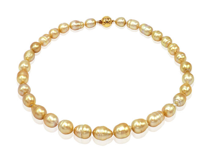 Organic Golden South Sea Pearl Necklace Baroque Shaped featuring an 18K Yellow Gold Diamond Ball Clasp - Authenticity Certificate Included