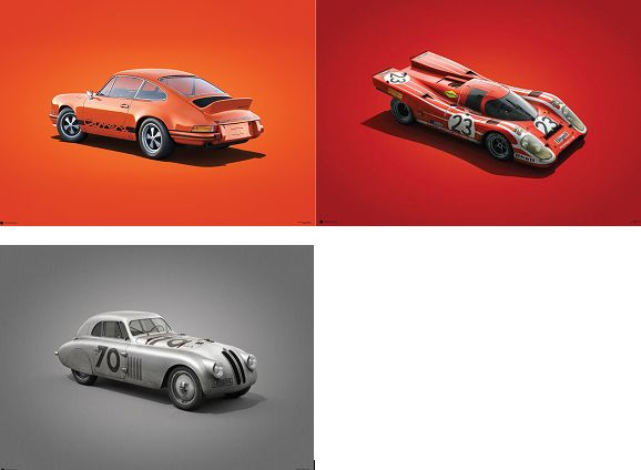 BMW 328 Mille Miglia Print, Porsche 911 RS 1973 Orange and Porsche 917 Salzburg Fine Art Prints - 70CM X 50CM