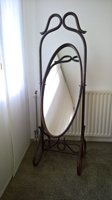 Standing (full-length) mirror in Thonet style, mid 20th century - steamed beech
