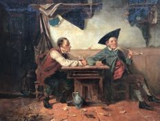 German School - 19th Century - Cardplayers at a table