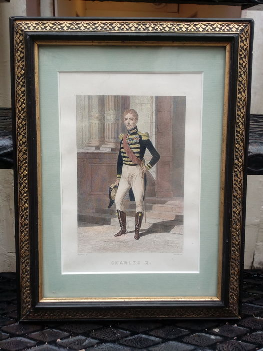 Charles X - old lithograph - under glass, wooden frame - Circa 1850 - France