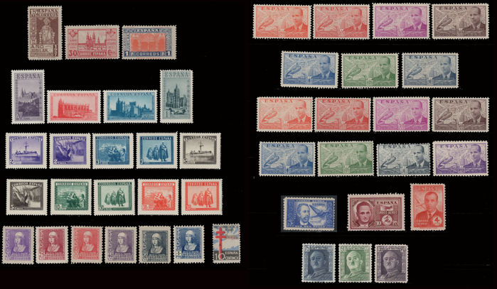 Spain 1937/1946 - Lot 10 complete series Spanish State - Edifil 833/835, sh 847A/D, sh 849A/K, 855/860, 866, 880/886, 940/947, 983, 991/992, 999/1001