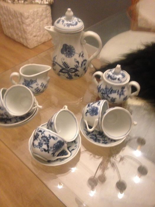 Blue danube, coffee set, Zwiebelmuster, coffee pot, cup and saucer, sugar & milk