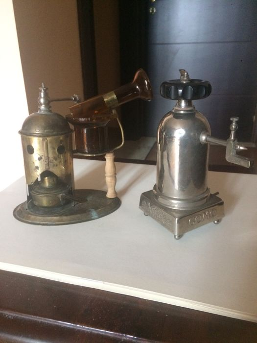 Two antique inhalers - late 1800s - southern Italy - copper and chromed metal