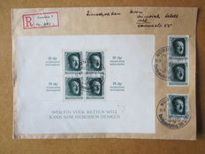 German Empire 1937 Block issue no. 9 with 3 other identical stamps as registered mail.