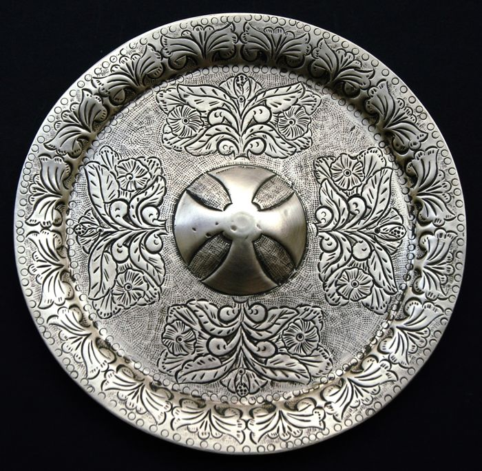 Antique Solid Brass Serving Tray / Dish With Handmade Decoration, Greece, c. 1870s