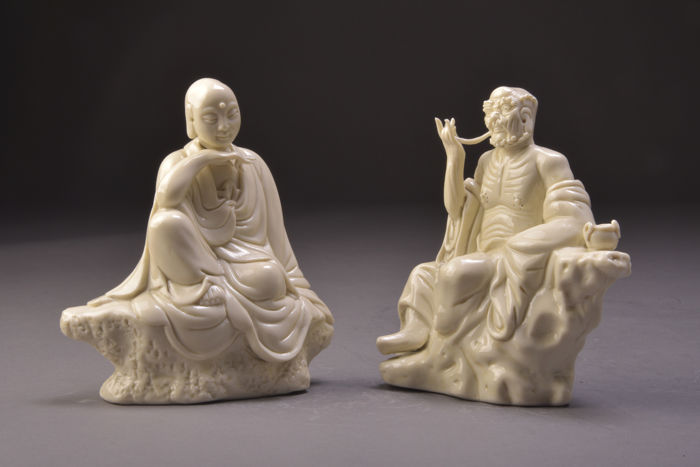 White porcelain Buddha images - Blanc de Chine - Lohan figures - China - late 20th century