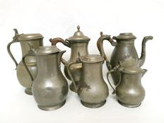 6 pewter jugs - marked with rose - Belgium - from ca. 1800 and later