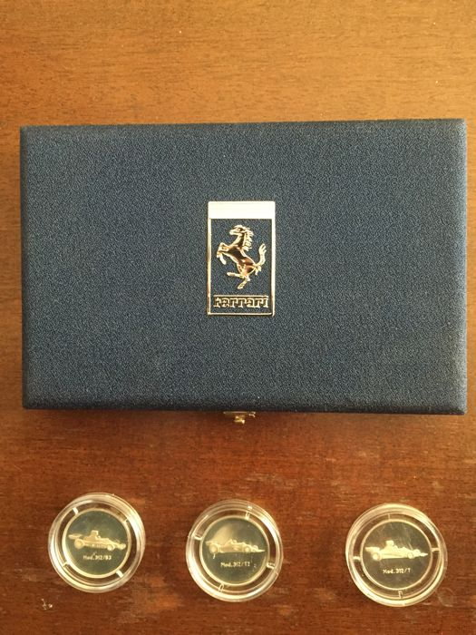 Lot of 3 Ferrari silver coins with authenticity/warranty certificate