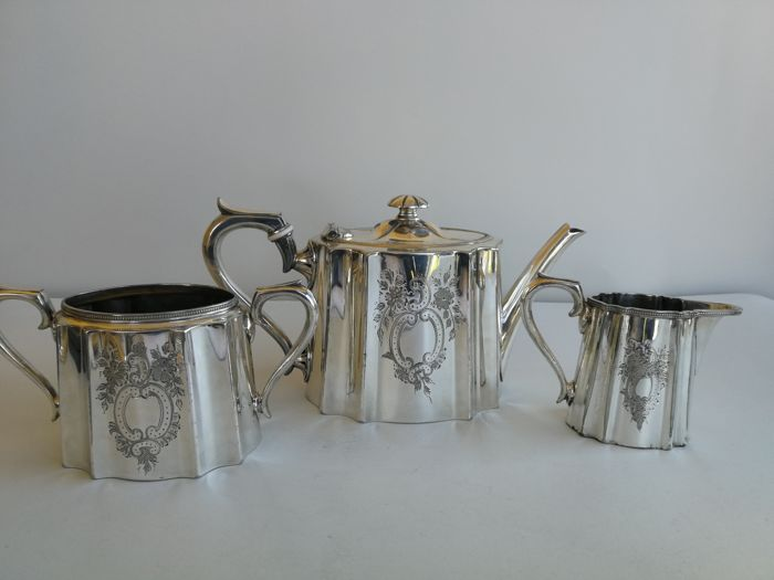 Richly decorated 3-piece silver plated Victorian tea set by James Dixon & Sons