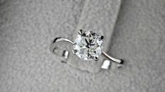0.91 ct d/vs2 round diamond ring made of 14 kt white gold *** NO RESERVE PRICE ***