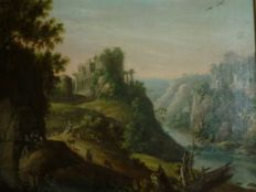 Continental School - A landscape with figures on a hilltop