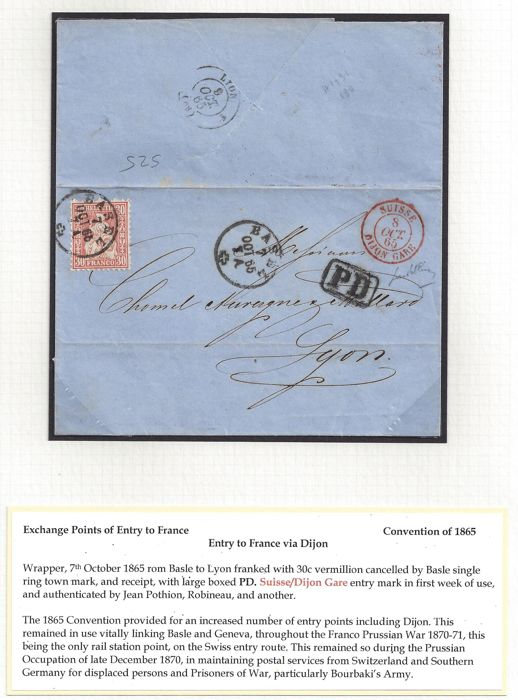 Swiss - France 1865 - Franking from Basel to Lyon 30c. rate. Letter to France.