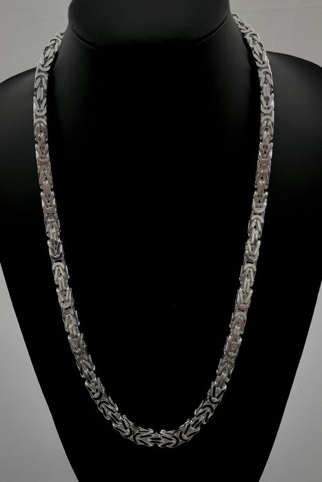 Silver king's braid link necklace, 925/1000. Length 66 cm. Width 7 mm. Weight 196 grams.
