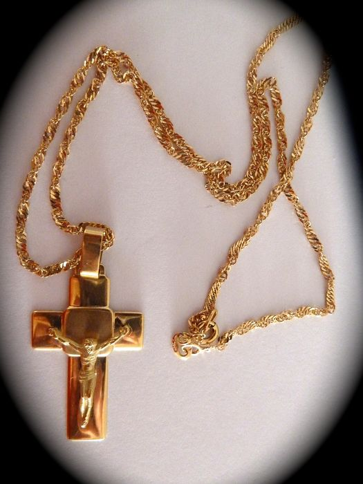 18 kt yellow gold chain and cross - 46 cm