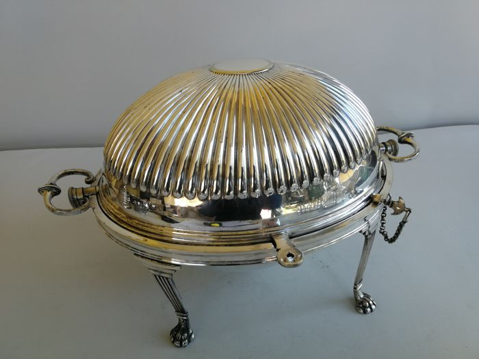 Gorgeous roll over English silver plated breakfast dome - marked by James Deakin & Sons