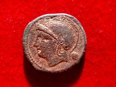 Roman Republic - Anonymous (semilibral) uncia (11,03 g. 23 mm.). Rome mint, 217 - 215 B.C. Rome head / prow of galley. ROMA.