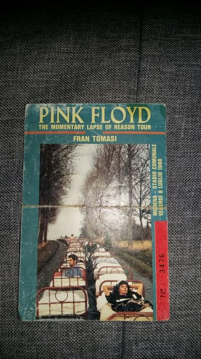 Original admission ticket to the Pink Floyd concert at the Modena stadium on 08/07/1988