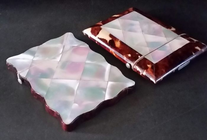 Two business card holders of turtle and mother of pearl ca 1900 two business card holders of turtle and mother of pearl ca 1900 colourmoves