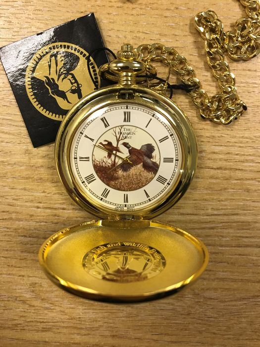 Franklin mint pheasant pocket watch with belt pouch for National fish and wildlife foundation