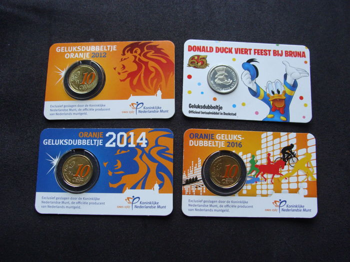 The Netherlands – 'Geluksdubbeltjes' (Lucky dimes) 2012, 2014 and 2016 'Oranje' + 2017 'Donald Duck' in coin cards (4 pieces)