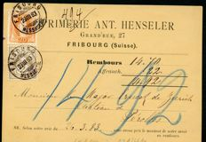Switzerland 1882/1883 - cross and nominal value and standing Helvetia on pay on delivery postcard. Guinand certificate - Zst 53a and 66Aa (Michel 45/58XA)