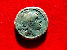 Roman Republic - Anonymous (semilibral) uncia (8,04 g. 21 mm.). Rome mint, 211  B.C. Rome head / prow of galley. ROMA.