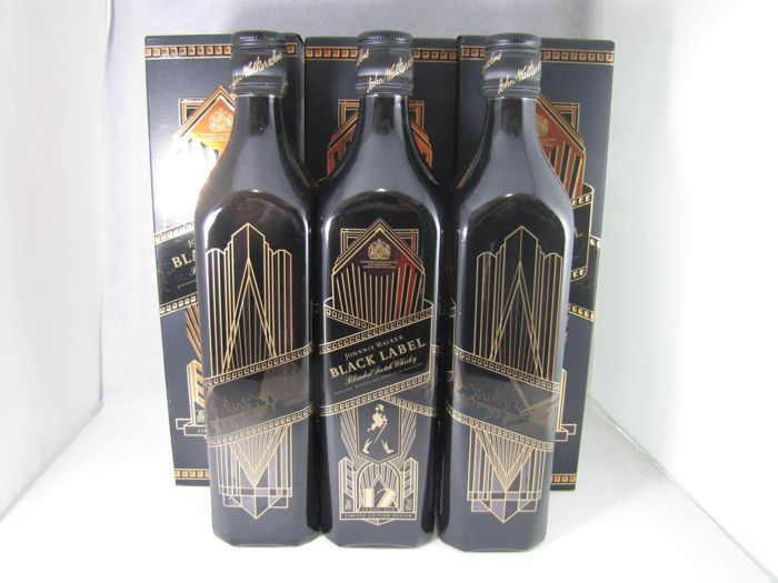 3 bottles - Johnnie Walker Black Label Art Deco