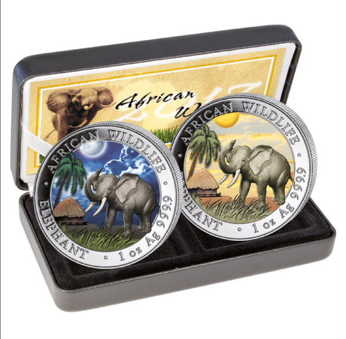Somalia - set of 100 Shillings 2017 'African Wildlife - Elephant Day & Night' colour with box & certificate - 2 x 1 oz silver