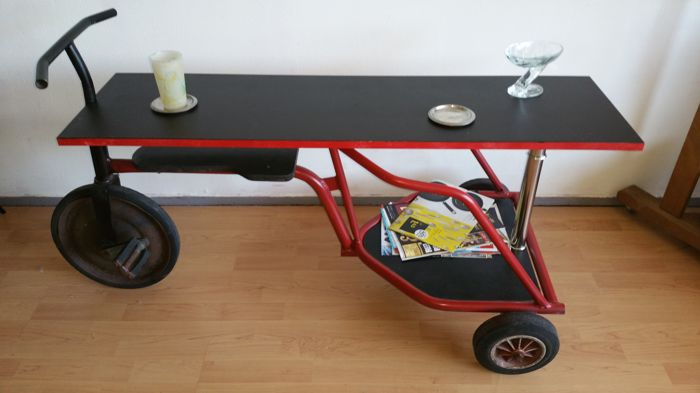 Rare design industrial tricycle side table, second half 20th century