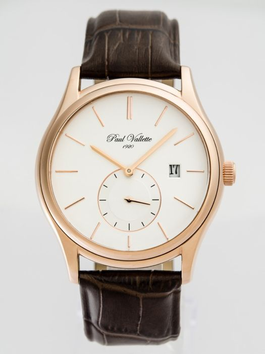 Paul Vallette  - Prestige pink gold plate quartz men's watch - PV150211-RG-03N  - Men - 2011-present