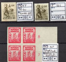 Dutch East Indies / Indonesia - Selection with plate error and imperforate stamps