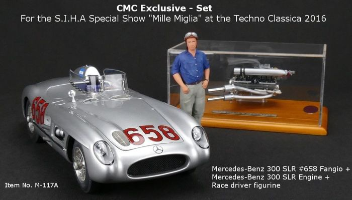 CMC - Scale 1/18 - Techno Classica 2016: Mercedes-Benz 300 SLR, Motor 300 SLR & Figurine Juan Manuel Fangio - Limited Edition 150 pieces