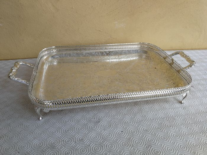 A beautiful silver plated tray with feet and openwork rim - Made in England