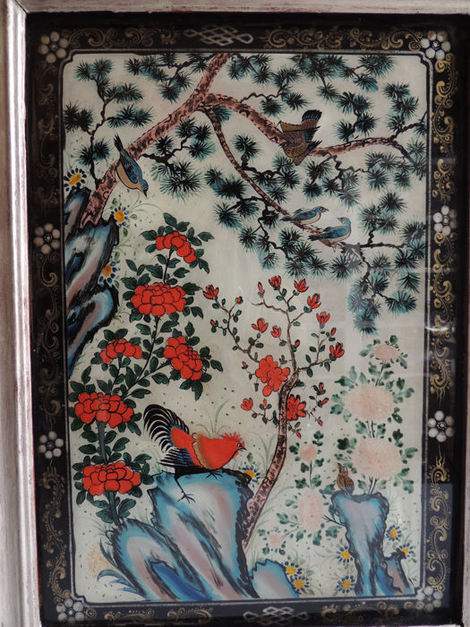 China - fixed under glass representing a natural scene, bird decor including a rooster - end of the 19th century