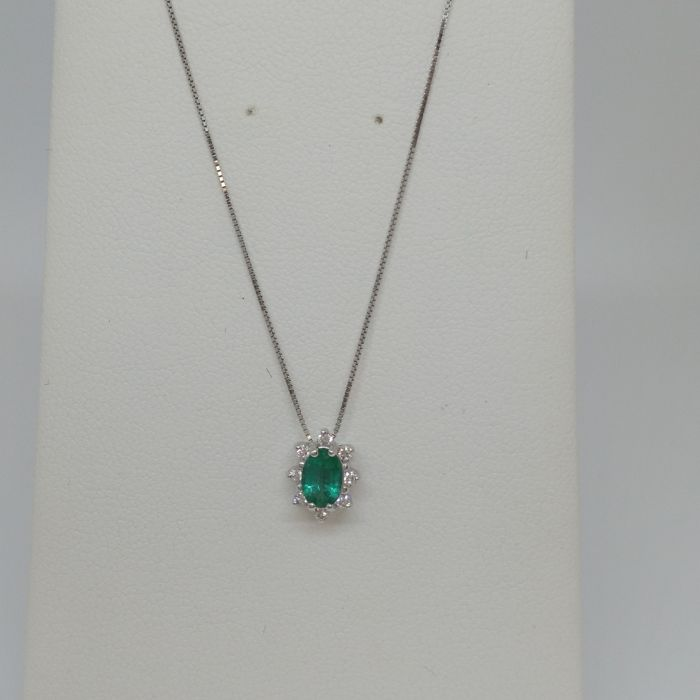 Bliss by damiani white gold necklace and pendant with emerald and bliss by damiani white gold necklace and pendant with emerald and diamonds aloadofball Images