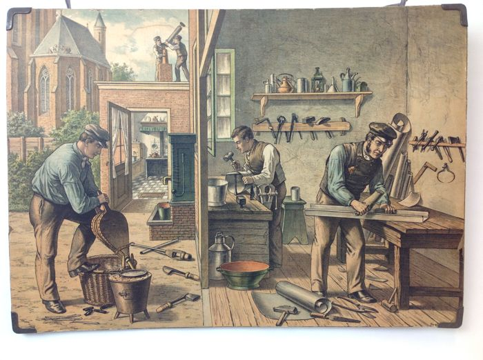 Vintage school poster: The plumber and tinsmith. An almost deserted profession that on this lithograph (lithography) is beautifully portrayed