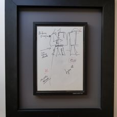 Giorgio Armani - Ink drawing - Men's/women's leather collection 1969