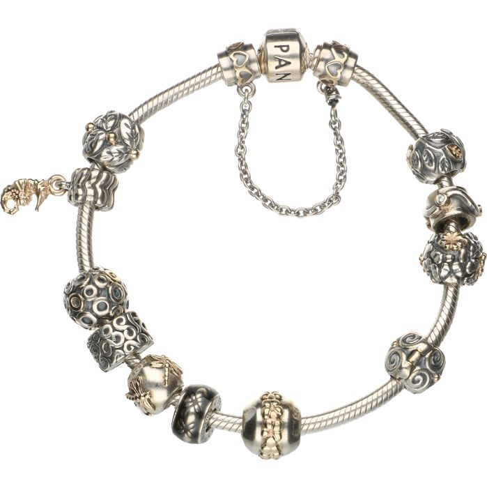 c7b2ddd3f95f ... italy 925 silver pandora bracelet with 12 pandora charms of which 10  with 14 karat fc5f6