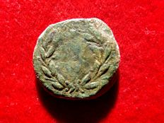 Roman Republic -Sicily, Panormos. Janus AE21 (7,05 g. 21 mm.). After 241 B.C. Janus head/ Wreath (¿NASO?).Inside Extremely rare.
