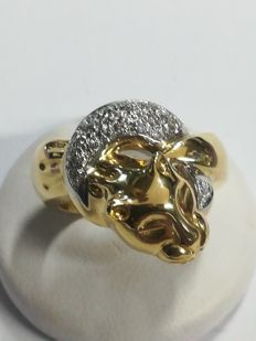 18 kt gold ring with 24 diamonds – Size: 15=55